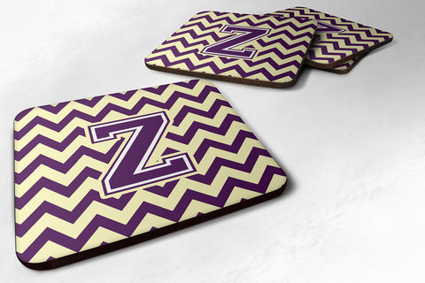 Buy this Letter Z Chevron Purple and Gold Foam Coaster Set of 4 CJ1058-ZFC