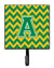 Buy this Letter A Chevron Green and Gold Leash or Key Holder