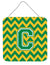 Letter C Chevron Green and Gold Wall or Door Hanging Prints CJ1059-CDS66 by Caroline's Treasures
