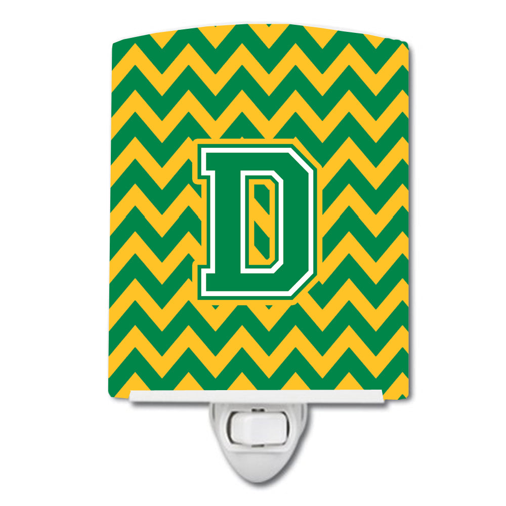 Letter D Chevron Green and Gold Ceramic Night Light CJ1059-DCNL by Caroline's Treasures