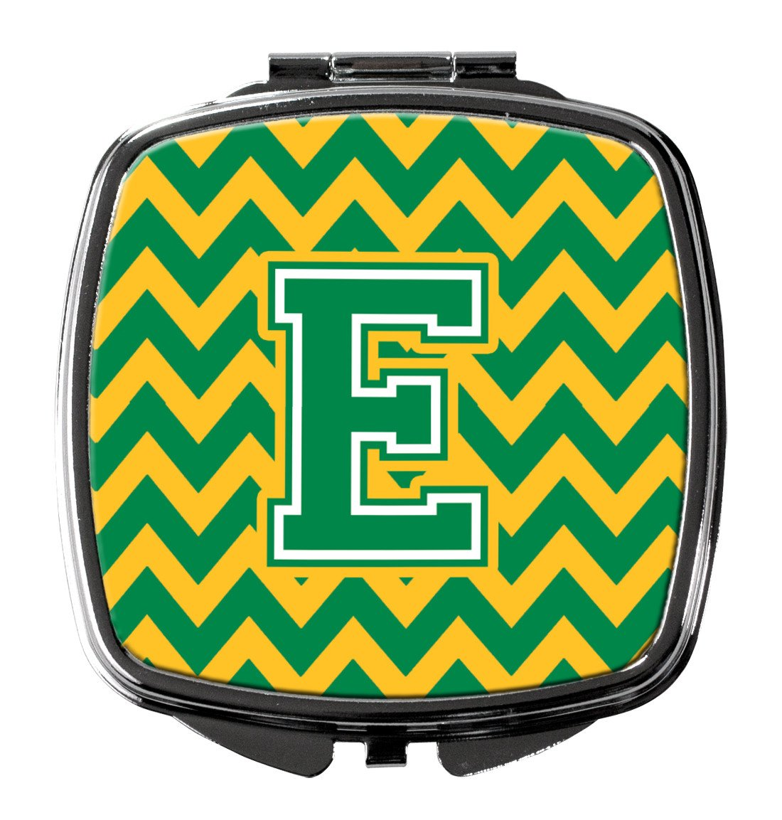 Letter E Chevron Green and Gold Compact Mirror CJ1059-ESCM by Caroline's Treasures