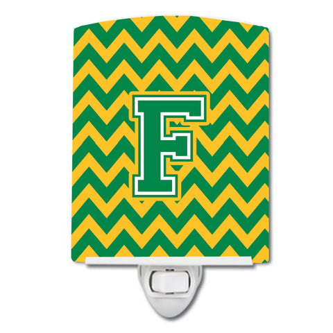 Buy this Letter F Chevron Green and Gold Ceramic Night Light CJ1059-FCNL