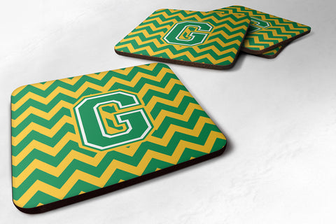 Buy this Letter G Chevron Green and Gold Foam Coaster Set of 4 CJ1059-GFC