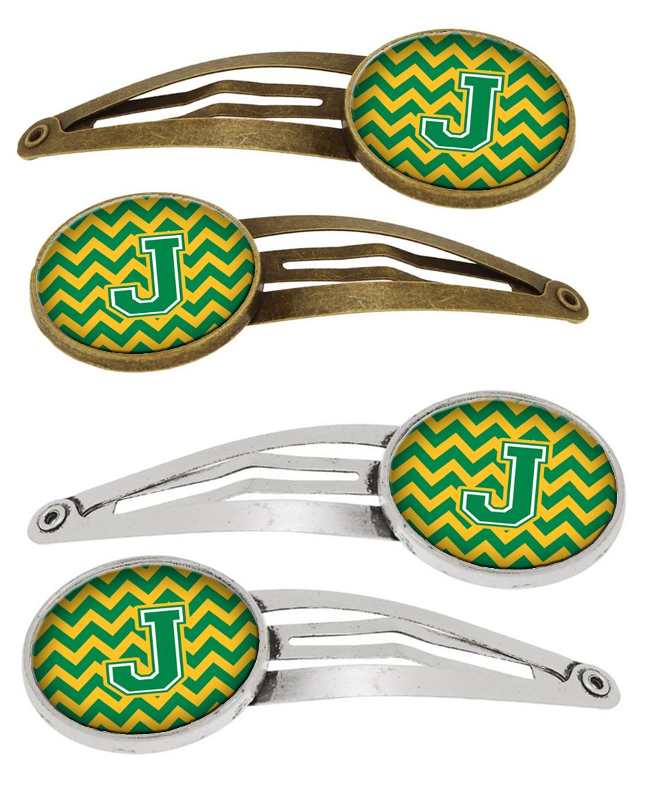 Letter J Chevron Green and Gold Set of 4 Barrettes Hair Clips CJ1059-JHCS4 by Caroline's Treasures