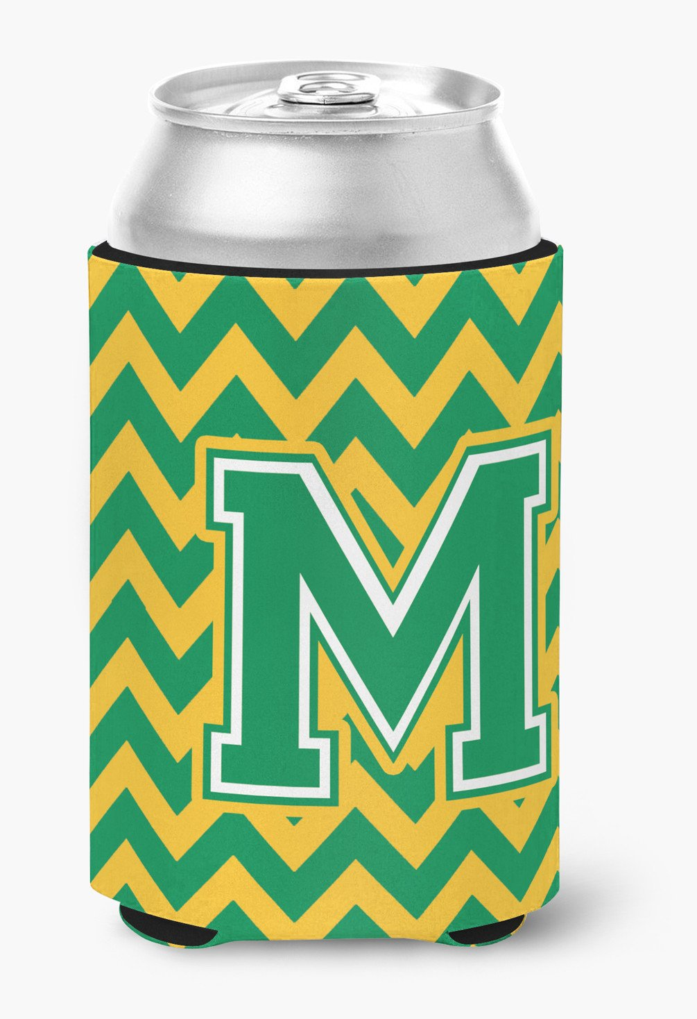 Letter M Chevron Green and Gold Can or Bottle Hugger CJ1059-MCC by Caroline's Treasures