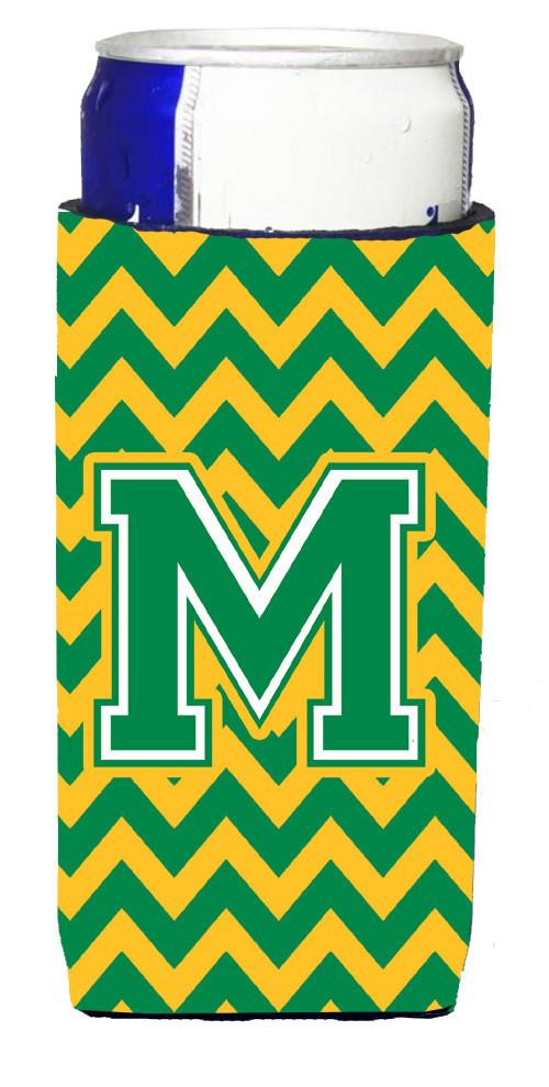 Letter M Chevron Green and Gold Ultra Beverage Insulators for slim cans CJ1059-MMUK by Caroline's Treasures