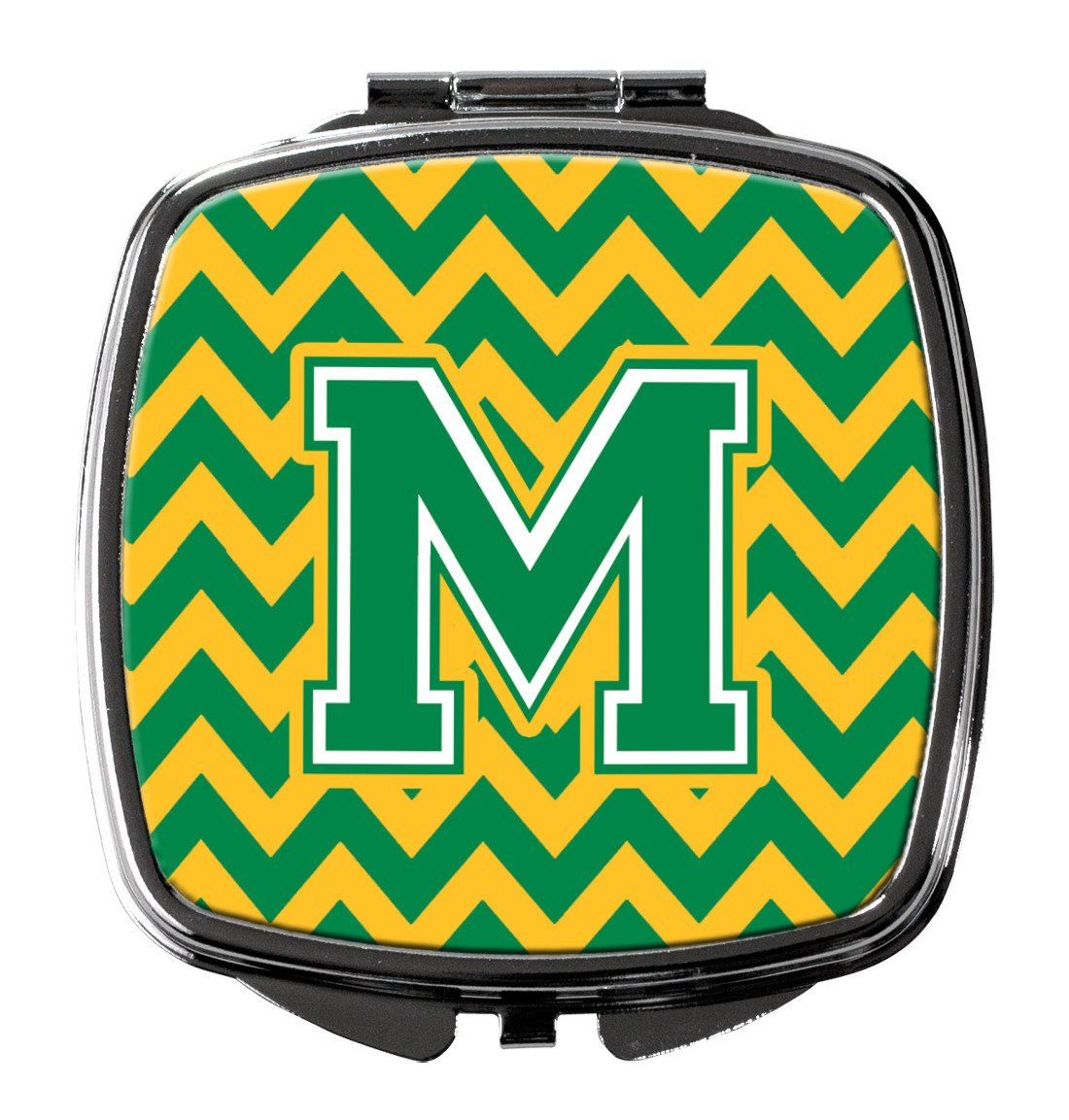 Letter M Chevron Green and Gold Compact Mirror CJ1059-MSCM by Caroline's Treasures