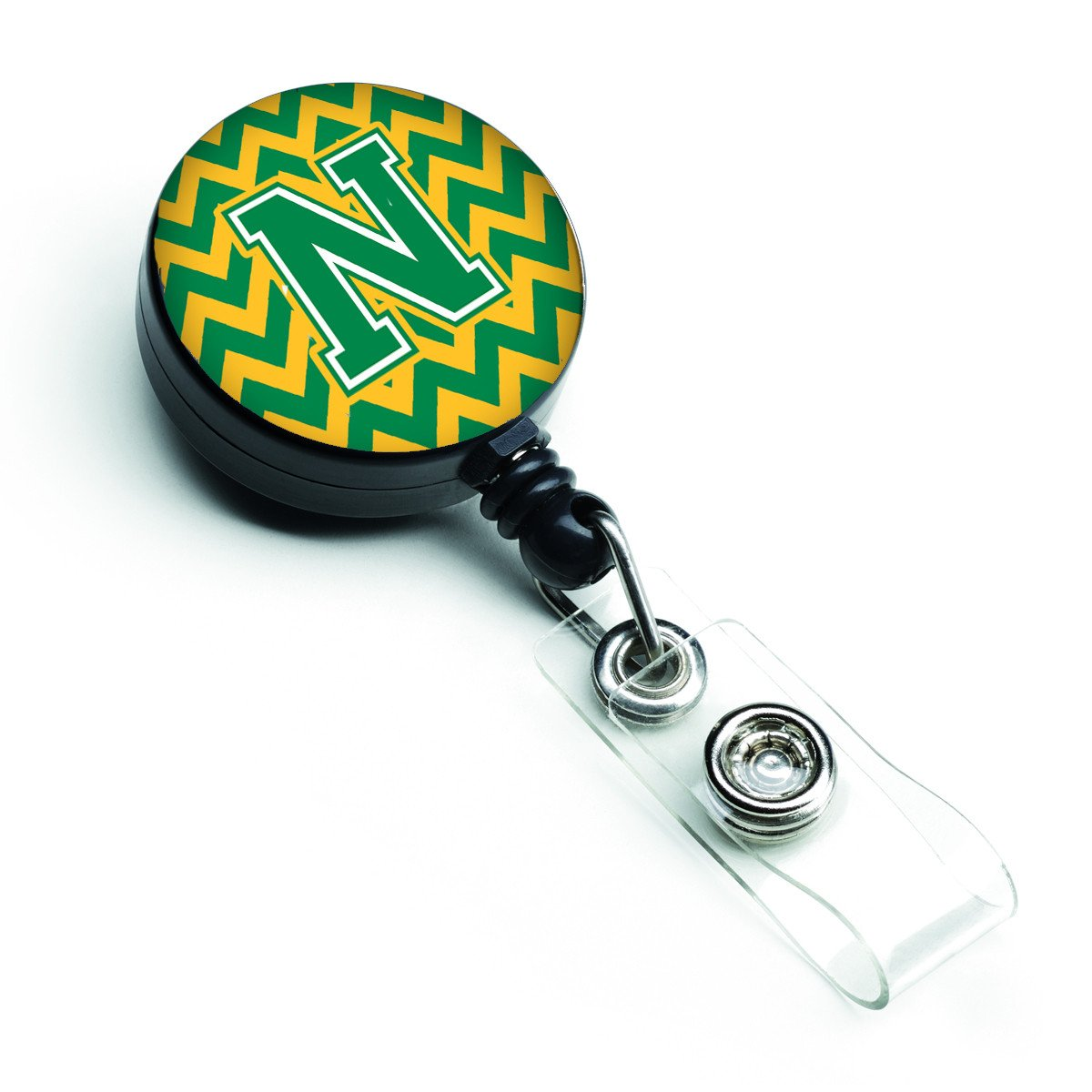 Letter N Chevron Green and Gold Retractable Badge Reel CJ1059-NBR by Caroline's Treasures
