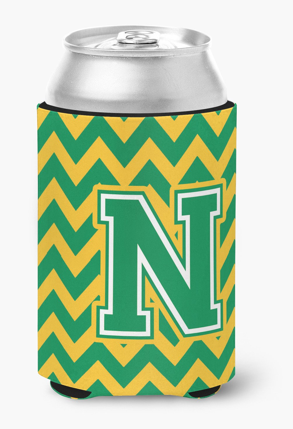 Letter N Chevron Green and Gold Can or Bottle Hugger CJ1059-NCC by Caroline's Treasures