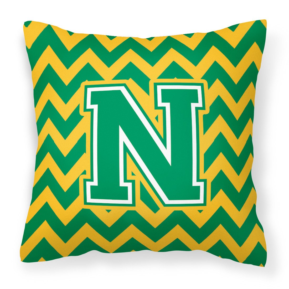 Letter N Chevron Green and Gold Fabric Decorative Pillow CJ1059-NPW1414 by Caroline's Treasures