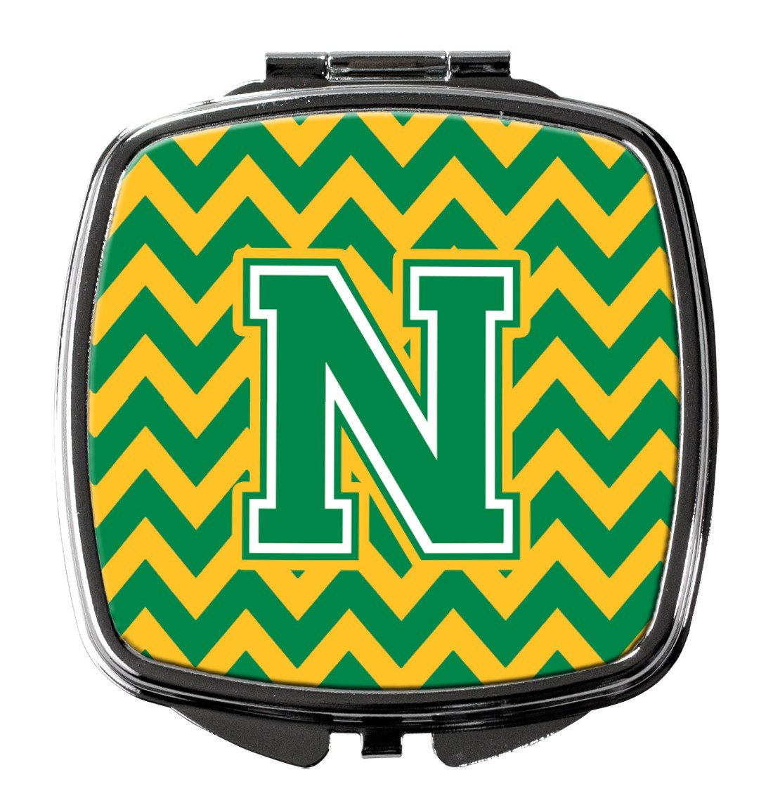 Letter N Chevron Green and Gold Compact Mirror CJ1059-NSCM by Caroline's Treasures