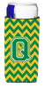 Letter Q Chevron Green and Gold Ultra Beverage Insulators for slim cans CJ1059-QMUK by Caroline's Treasures