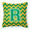 Letter R Chevron Green and Gold Fabric Decorative Pillow CJ1059-RPW1414 by Caroline's Treasures