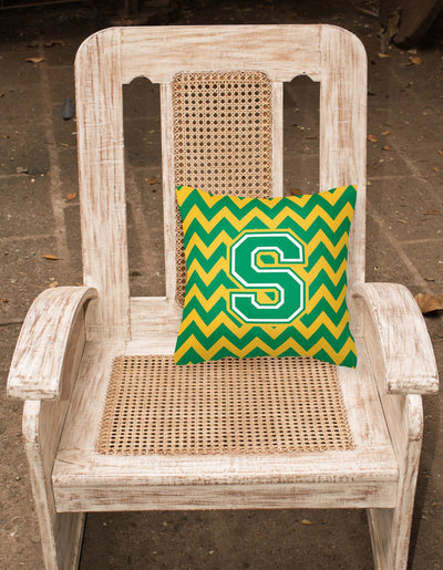 Letter S Chevron Green and Gold Fabric Decorative Pillow CJ1059-SPW1414