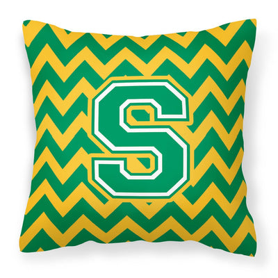 Buy this Letter S Chevron Green and Gold Fabric Decorative Pillow CJ1059-SPW1414
