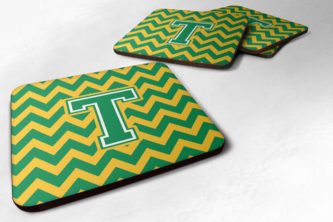 Buy this Letter T Chevron Green and Gold Foam Coaster Set of 4 CJ1059-TFC