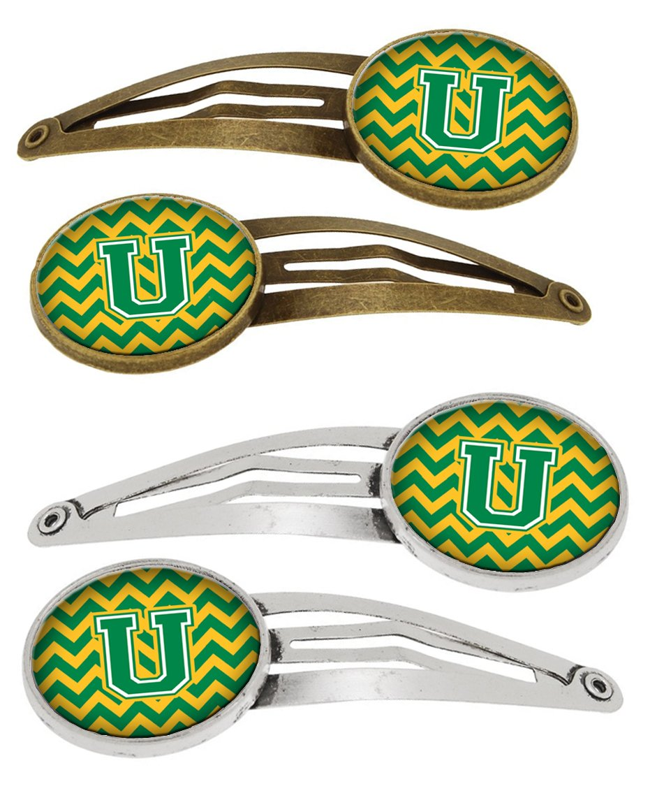 Buy this Letter U Chevron Green and Gold Set of 4 Barrettes Hair Clips CJ1059-UHCS4