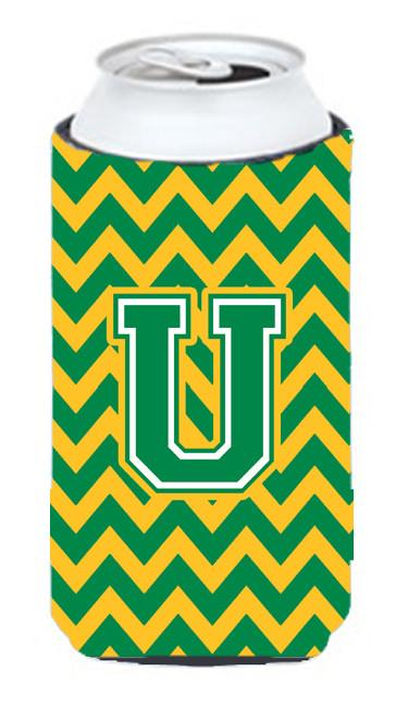 Buy this Letter U Chevron Green and Gold Tall Boy Beverage Insulator Hugger CJ1059-UTBC