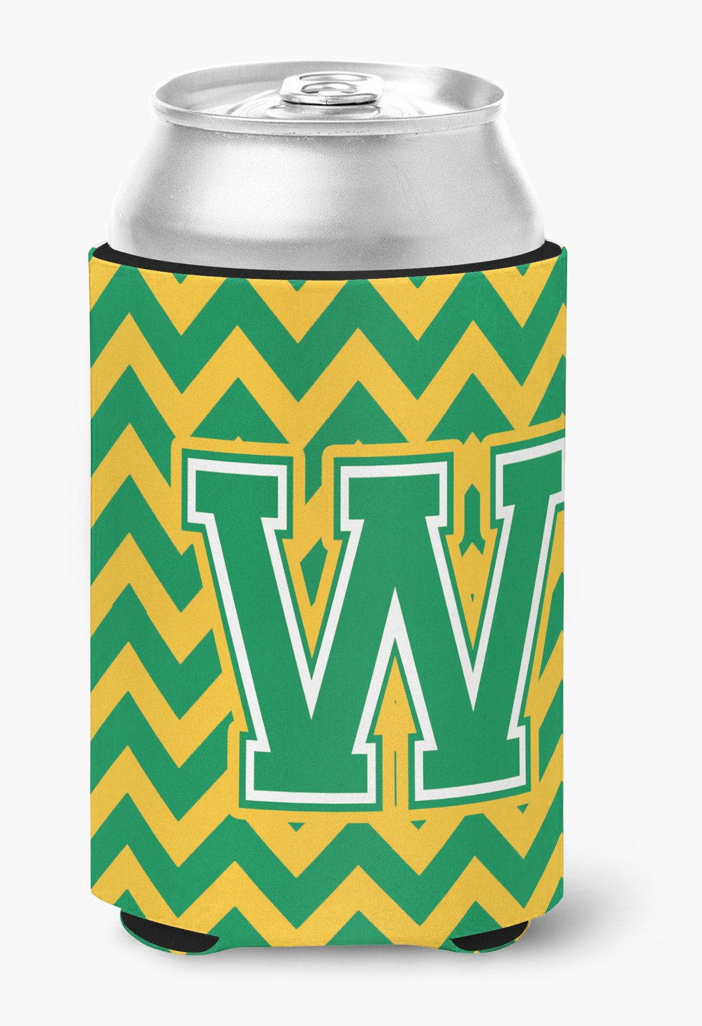 Buy this Letter W Chevron Green and Gold Can or Bottle Hugger CJ1059-WCC