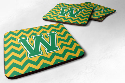 Buy this Letter W Chevron Green and Gold Foam Coaster Set of 4 CJ1059-WFC