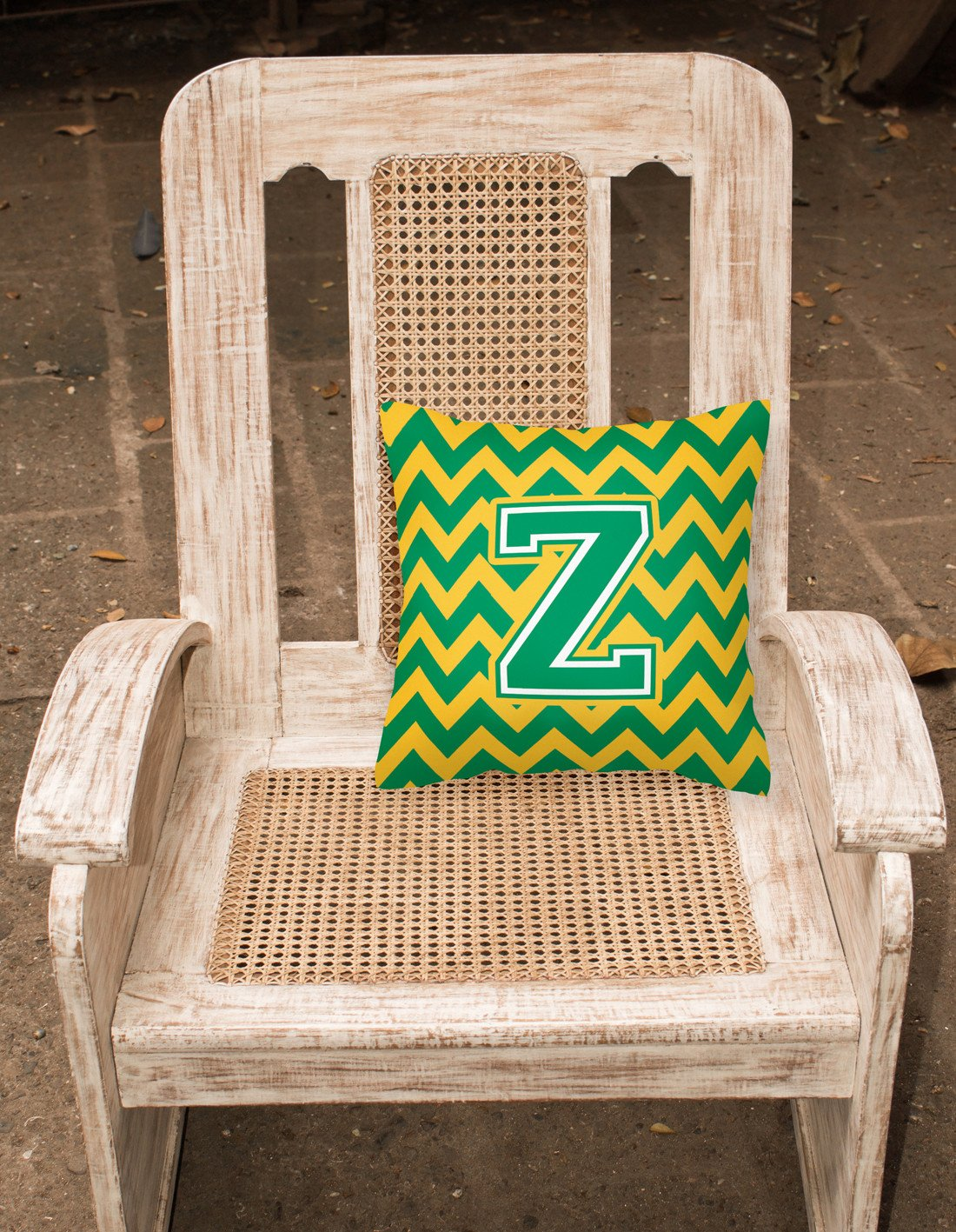 Letter Z Chevron Green and Gold Fabric Decorative Pillow CJ1059-ZPW1414 by Caroline's Treasures