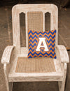 Letter A Chevron Blue and Orange #3 Fabric Decorative Pillow CJ1060-APW1414 by Caroline's Treasures