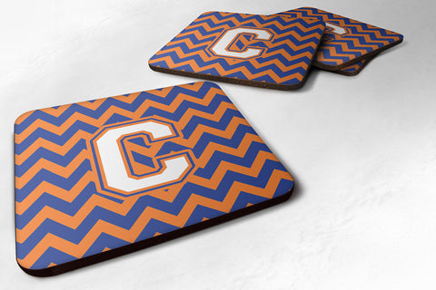 Buy this Letter C Chevron Blue and Orange #3 Foam Coaster Set of 4 CJ1060-CFC