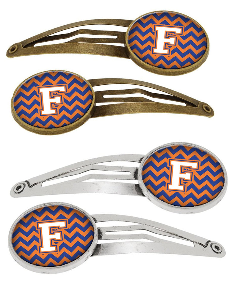 Buy this Letter F Chevron Blue and Orange #3 Set of 4 Barrettes Hair Clips CJ1060-FHCS4