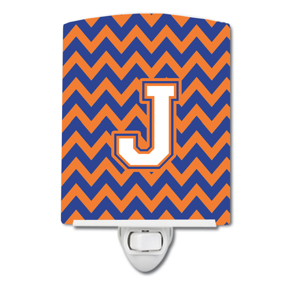 Letter J Chevron Blue and Orange #3 Ceramic Night Light CJ1060-JCNL by Caroline's Treasures