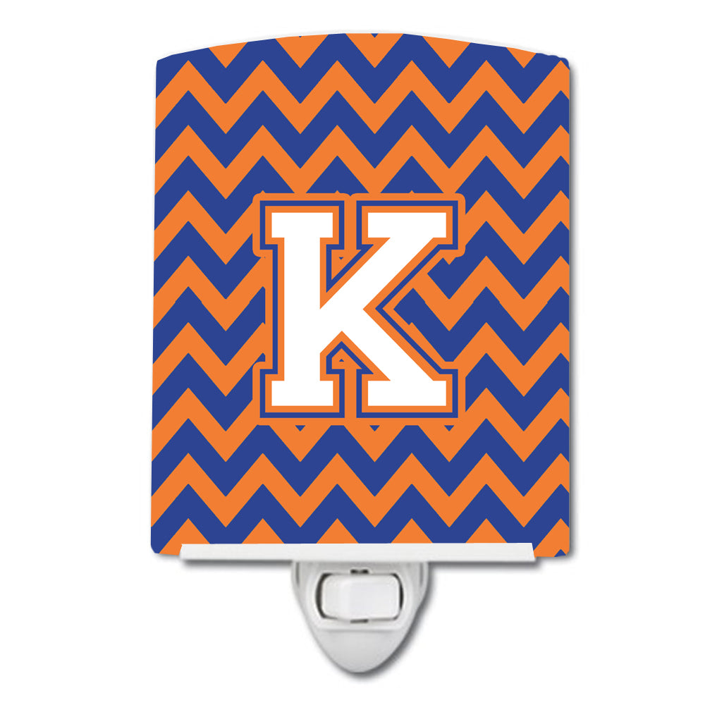 Buy this Letter K Chevron Blue and Orange #3 Ceramic Night Light CJ1060-KCNL