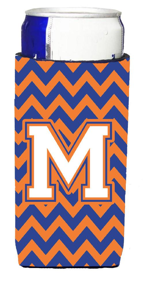 Letter M Chevron Blue and Orange Ultra Beverage Insulators for slim cans CJ1060-MMUK by Caroline's Treasures