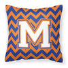 Letter M Chevron Blue and Orange #3 Fabric Decorative Pillow CJ1060-MPW1414 by Caroline's Treasures