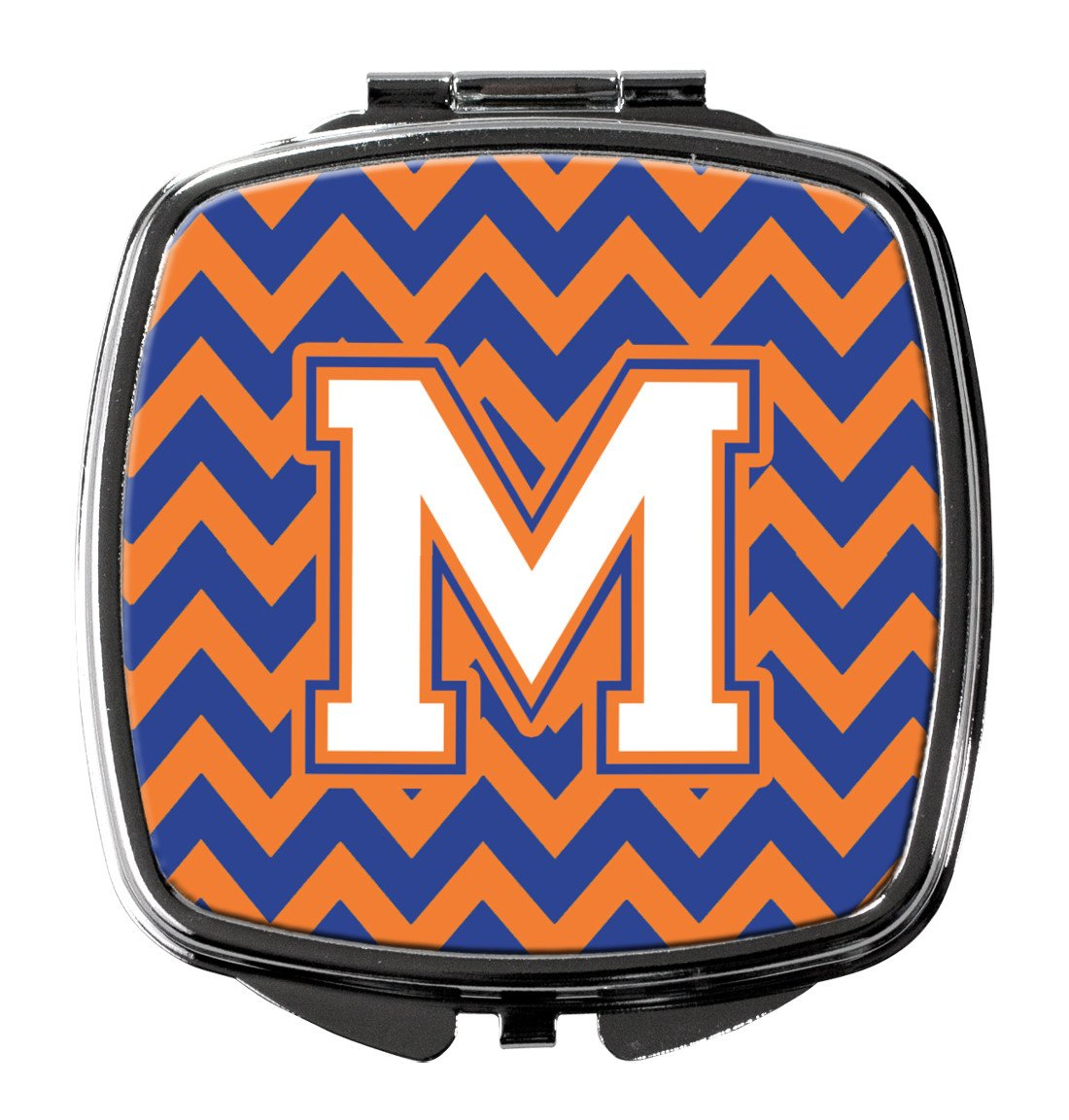 Letter M Chevron Blue and Orange #3 Compact Mirror CJ1060-MSCM by Caroline's Treasures