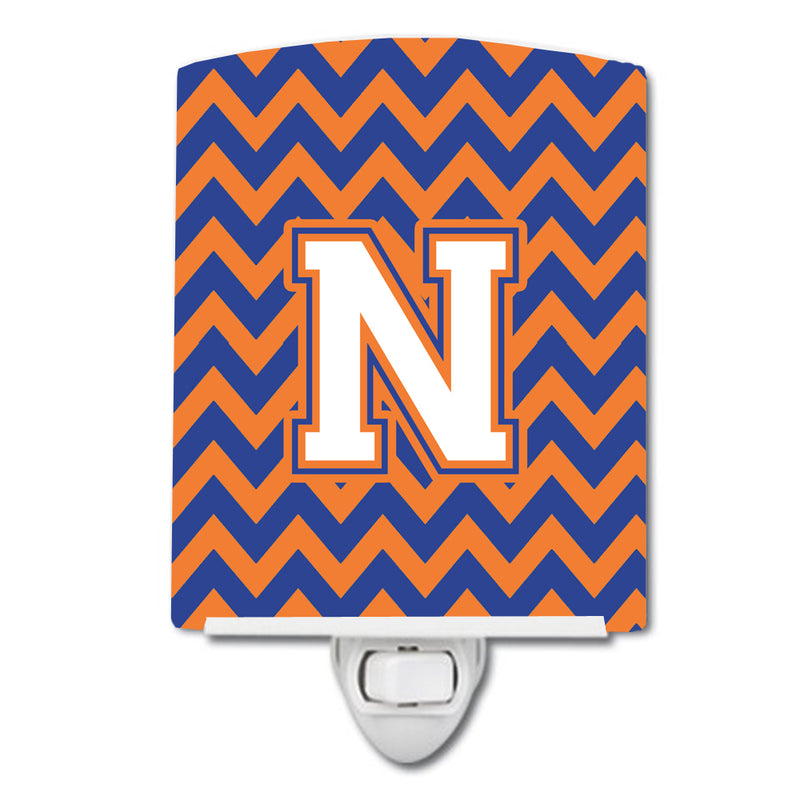 Buy this Letter N Chevron Blue and Orange #3 Ceramic Night Light CJ1060-NCNL