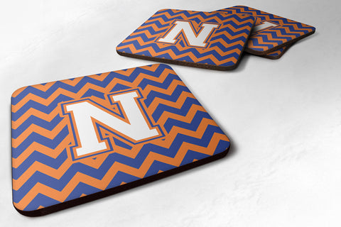 Buy this Letter N Chevron Blue and Orange #3 Foam Coaster Set of 4 CJ1060-NFC