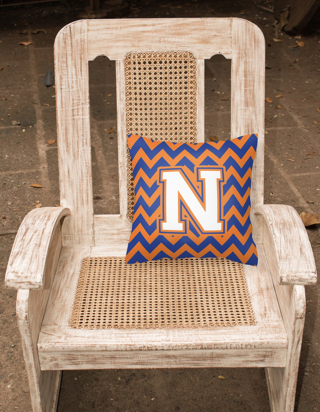 Letter N Chevron Blue and Orange #3 Fabric Decorative Pillow CJ1060-NPW1414 by Caroline's Treasures