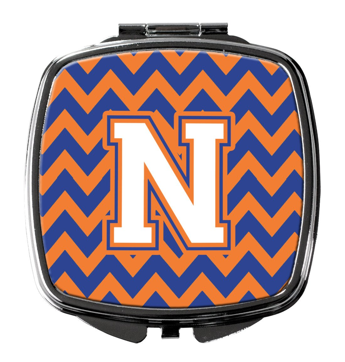 Letter N Chevron Blue and Orange #3 Compact Mirror CJ1060-NSCM by Caroline's Treasures
