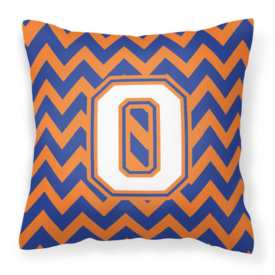 Buy this Letter O Chevron Blue and Orange #3 Fabric Decorative Pillow CJ1060-OPW1414