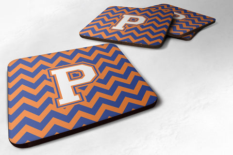 Buy this Letter P Chevron Blue and Orange #3 Foam Coaster Set of 4 CJ1060-PFC