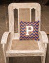 Letter P Chevron Blue and Orange #3 Fabric Decorative Pillow CJ1060-PPW1414 by Caroline's Treasures