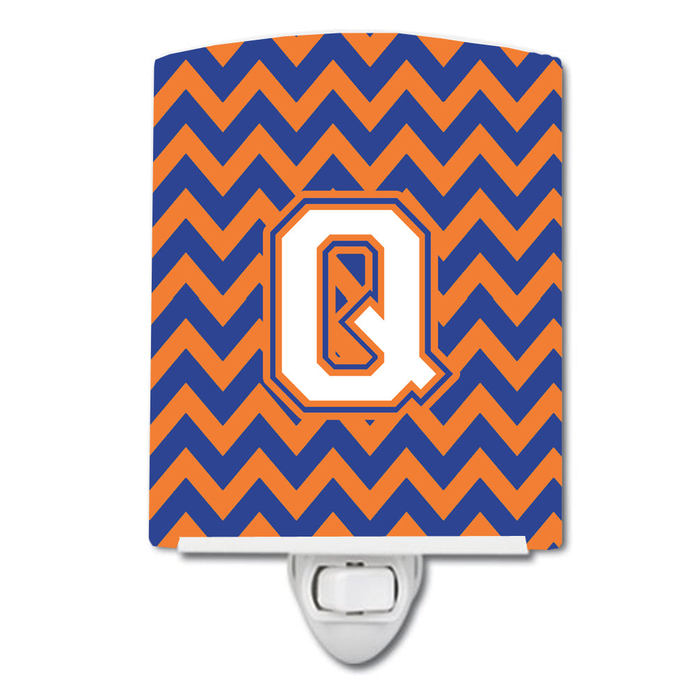 Buy this Letter Q Chevron Blue and Orange #3 Ceramic Night Light CJ1060-QCNL