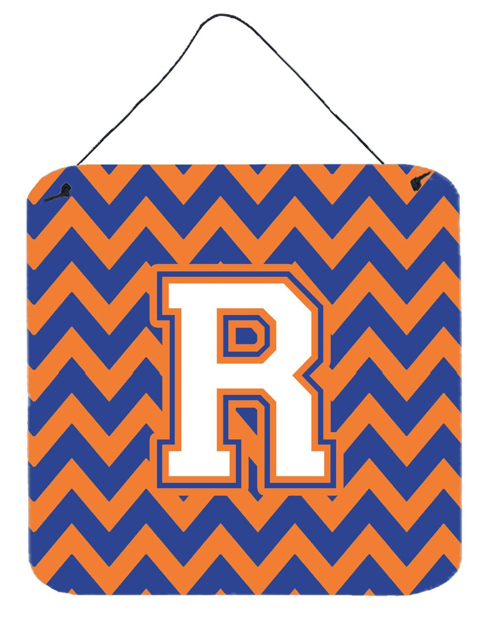 Letter R Chevron Blue and Orange #3 Wall or Door Hanging Prints CJ1060-RDS66 by Caroline's Treasures