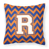 Letter R Chevron Blue and Orange #3 Fabric Decorative Pillow CJ1060-RPW1414 by Caroline's Treasures
