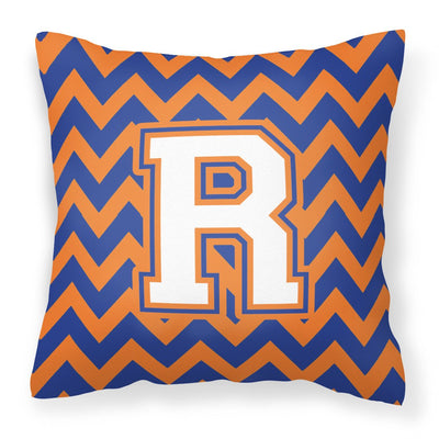 Buy this Letter R Chevron Blue and Orange #3 Fabric Decorative Pillow CJ1060-RPW1414