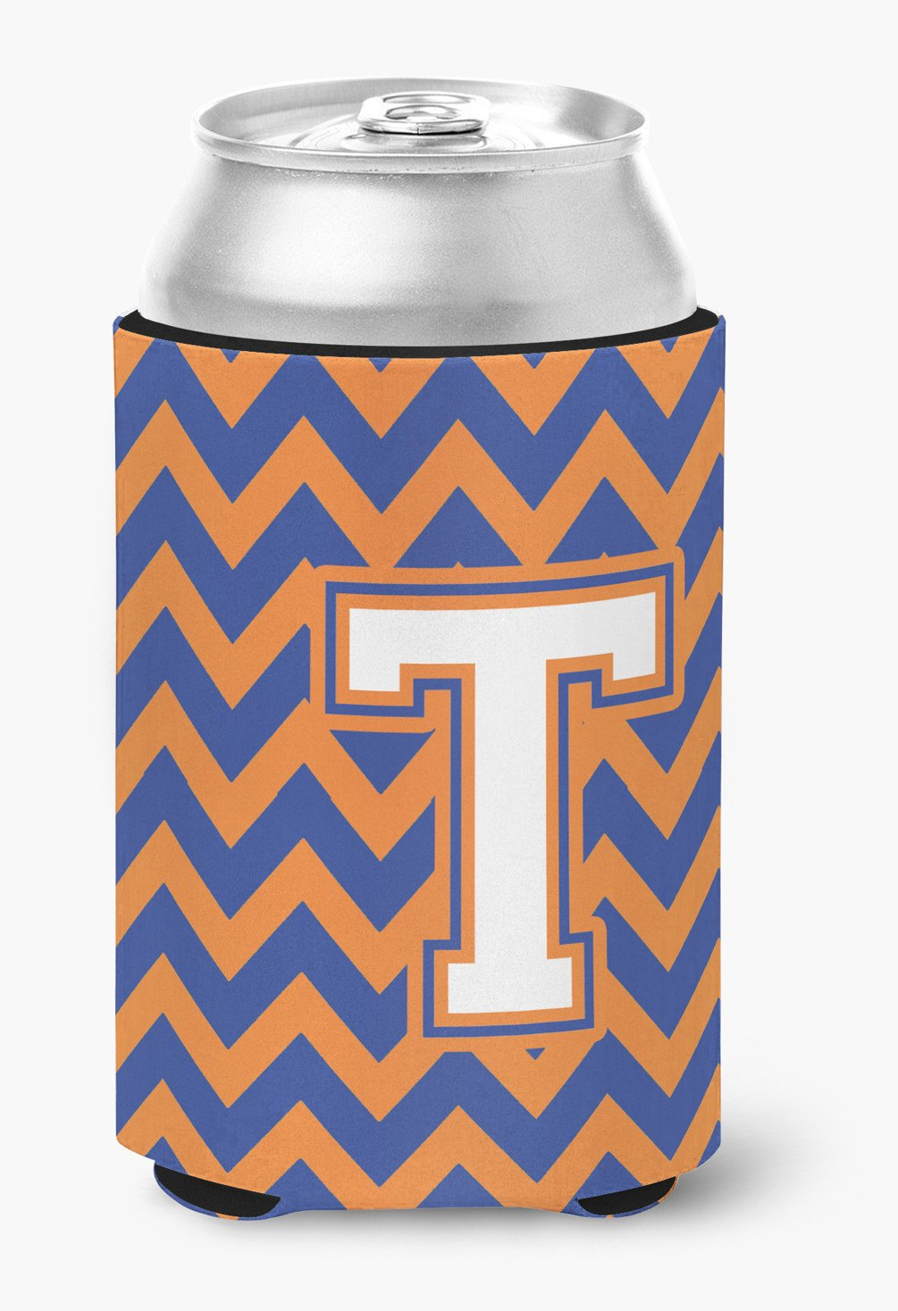 Letter T Chevron Blue and Orange #3 Can or Bottle Hugger CJ1060-TCC by Caroline's Treasures