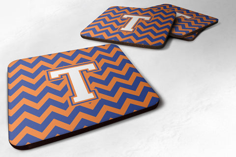 Buy this Letter T Chevron Blue and Orange #3 Foam Coaster Set of 4 CJ1060-TFC