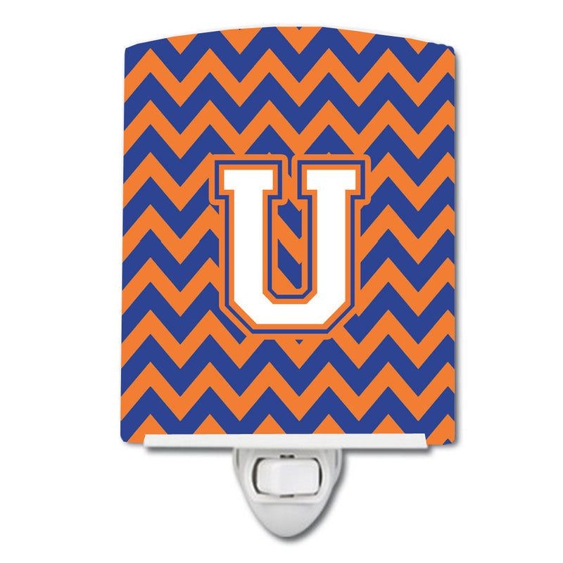 Buy this Letter U Chevron Blue and Orange #3 Ceramic Night Light CJ1060-UCNL