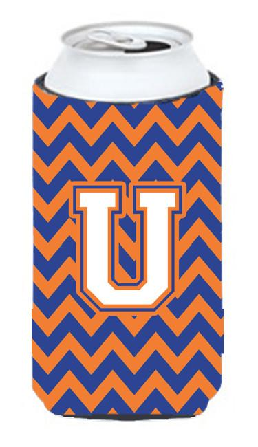 Buy this Letter U Chevron Blue and Orange Tall Boy Beverage Insulator Hugger CJ1060-UTBC