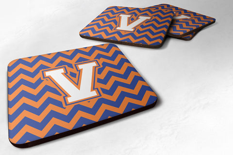 Buy this Letter V Chevron Blue and Orange #3 Foam Coaster Set of 4 CJ1060-VFC
