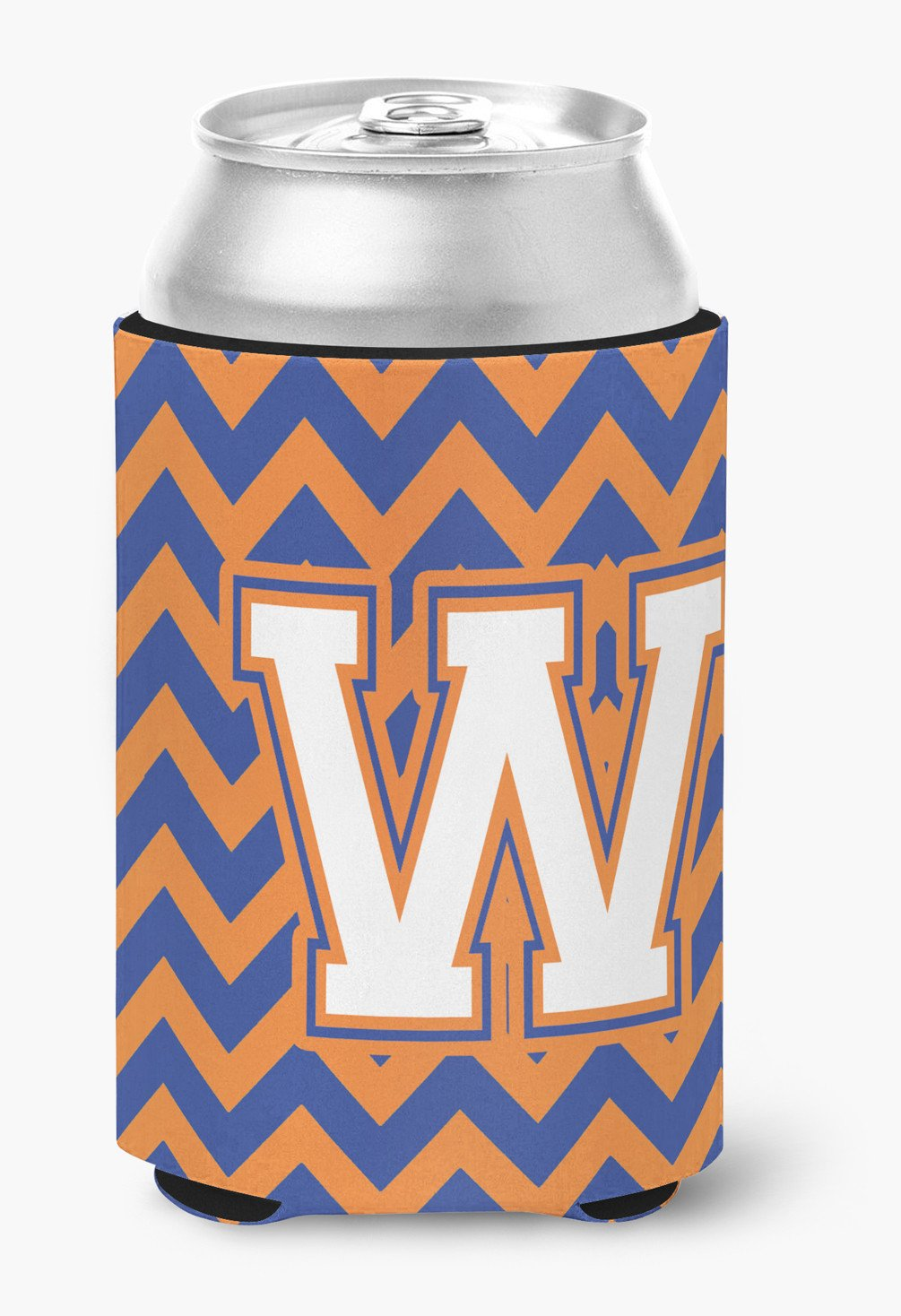 Buy this Letter W Chevron Blue and Orange #3 Can or Bottle Hugger CJ1060-WCC